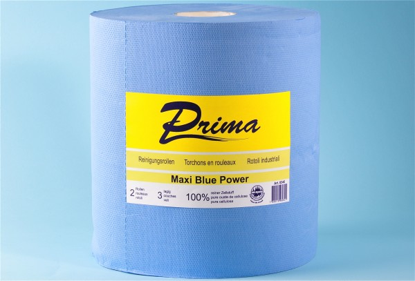 Maxi - Reinigungsrolle «Prima Blue Power» Zellstoff, 3-lagig