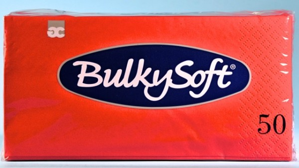 Servietten Bulky Soft Table Top rot, Zellstoff, 2-lagig, 1/8 Falz