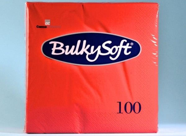 Servietten Bulky Soft Table Top rot, Zellstoff, 3-lagig, 1/4 Falz