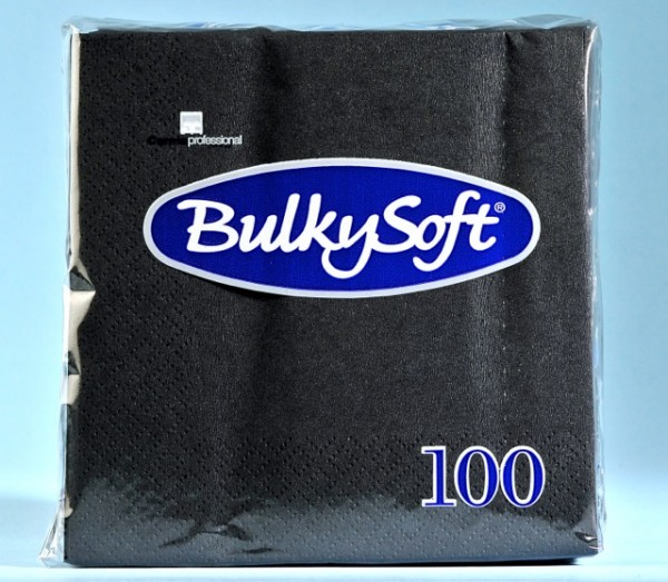 Servietten Bulky Soft Table Top schwarz, Zellstoff, 2-lagig, 1/4 Falz