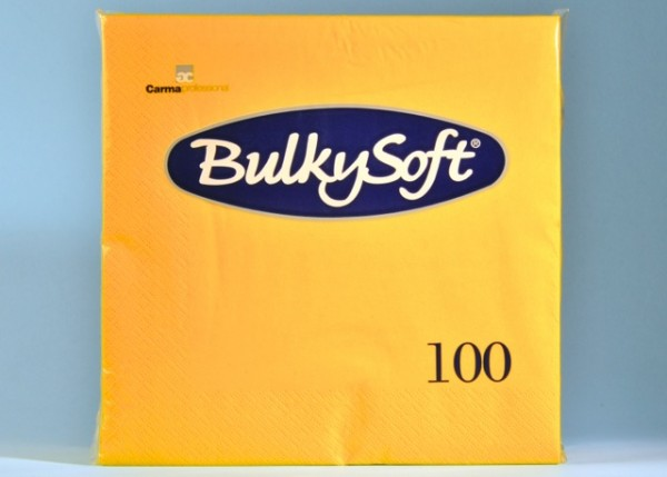 Servietten Bulky Soft Table Top gelb, Zellstoff, 3-lagig, 1/4 Falz