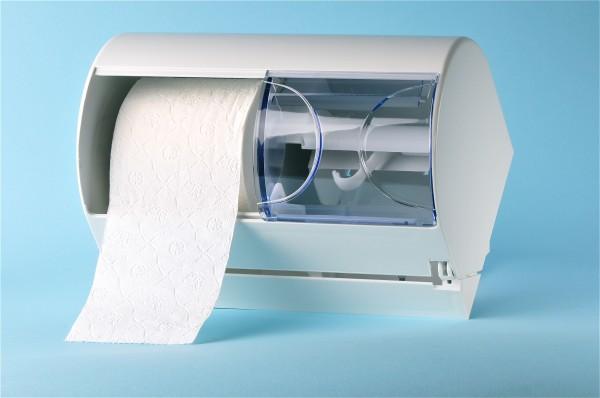 Doppelrollenhalter für Toilettenpapier weiss / transparent