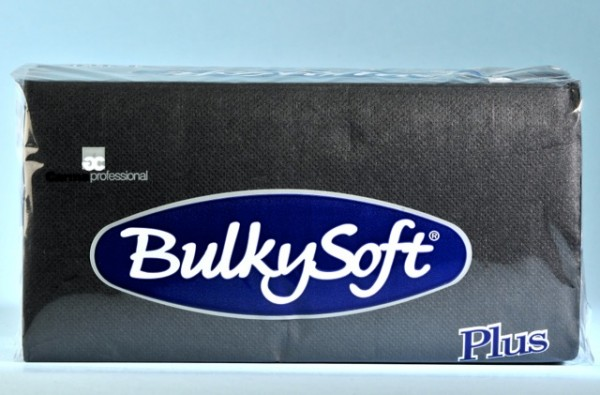 Servietten Bulky Soft Table Top Plus Line schwarz, Zellstoff, 2-lagig, 1/8 Falz